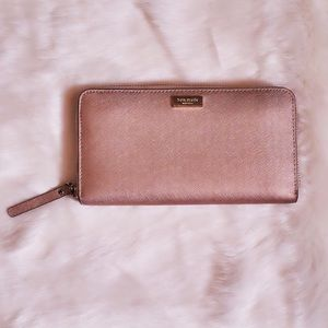 Rose Gold Kate Spade Long Rectangle Wallet